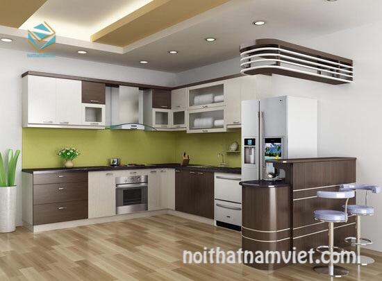 Thiết kế tủ bếp có quầy bar bằng gỗ công nghiệp đẹp và sang trọng