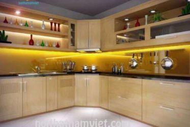 Thiết kế thi công tủ bếp MDF phủ Melamine phong cách Châu Âu TBMM-003