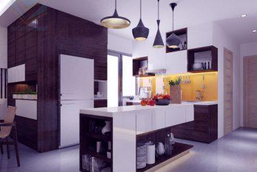 Thiết kế tủ bếp gỗ MDF kháng ẩm cánh Acrylic TBARL-022