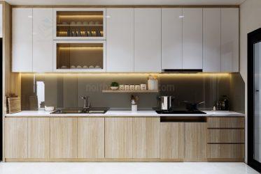 Tủ bếp gỗ MDF cánh Acrylic màu vân gỗ TBARL-042