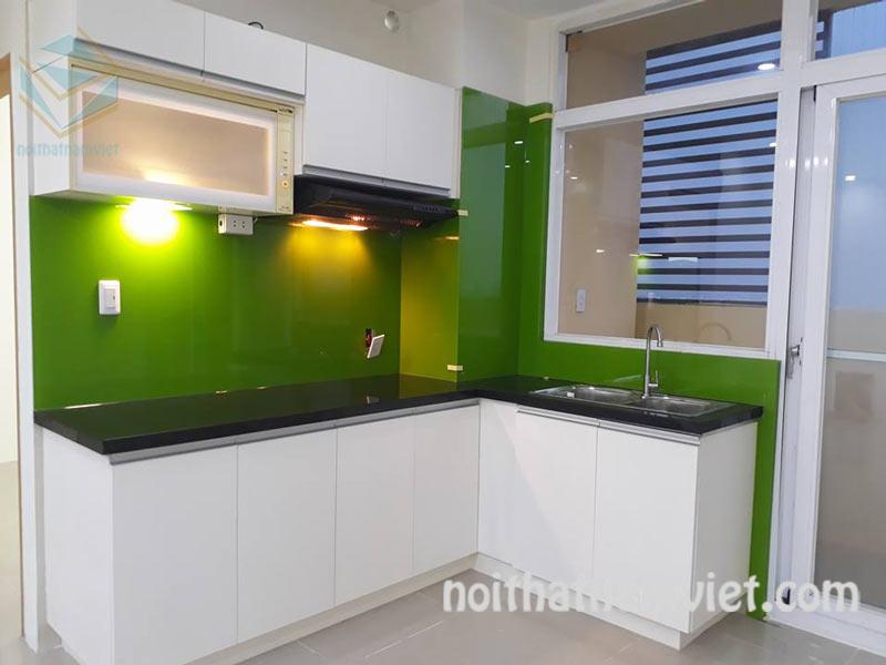 Tủ bếp MDF kháng ẩm phủ melamine cho chung cư