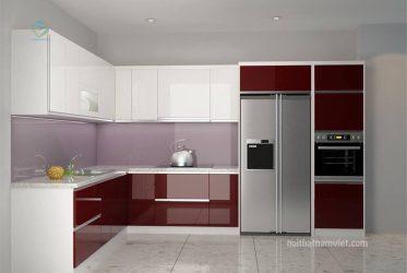 Tủ bếp thùng Picomat cáng Acrylic nhà chị Phụng TBARL-050