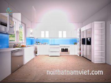 Tủ bếp gỗ Acrylic màu trắng đẹp hiện đại AC-2059