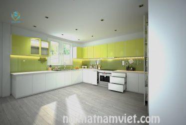 Tủ bếp gỗ acrylic an cường tông màu vàng trắng TBARL-004