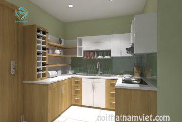 Tủ bếp gỗ MDF phủ Melamine hiện đại TBMM-006