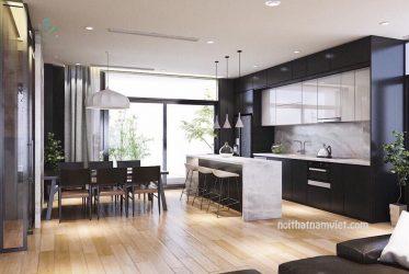 Thiết kế tủ bếp gỗ công nghiệp kết hợp quầy bar