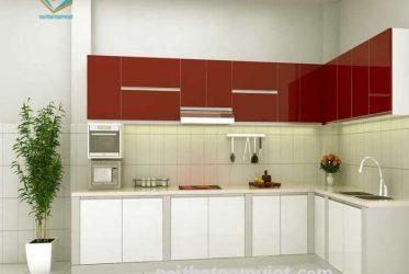 Mẫu thiết kế kệ tủ bếp gỗ công nghiệp Acrylic màu trắng đỏ TBARL-023