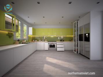 Tủ bếp gỗ công nghiệp Acrylic màu trắng đẹp hiện đại cho mọi nhà