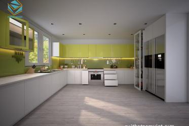 Tủ bếp gỗ công nghiệp Acrylic màu trắng đẹp hiện đại cho mọi nhà TBARL-049