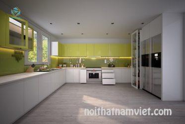 Tủ bếp acrylic bóng gương cao cấp TBARL-048