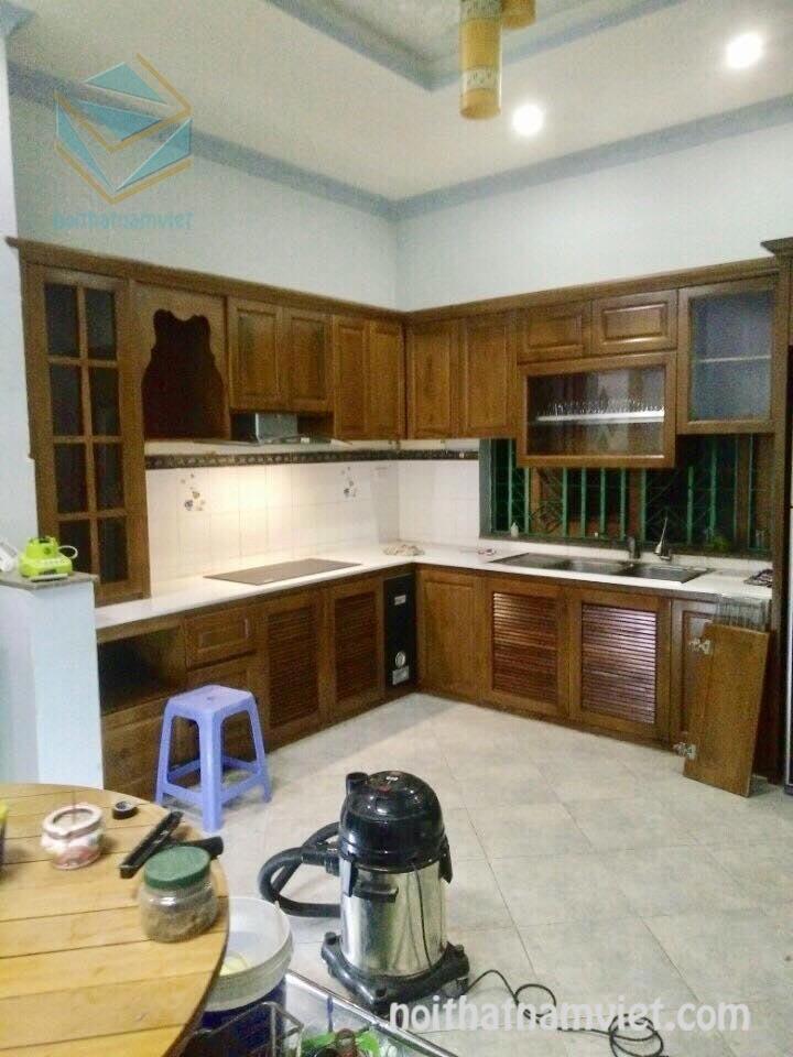 Nhận đóng tủ bếp gỗ sồi tự nhiên đẹp GS-1039
