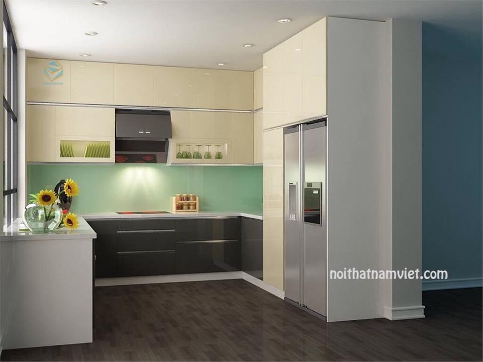 Thiết kế chữ U tủ bếp gỗ công nghiệp Acrylic bóng gương An Cường AC-2079