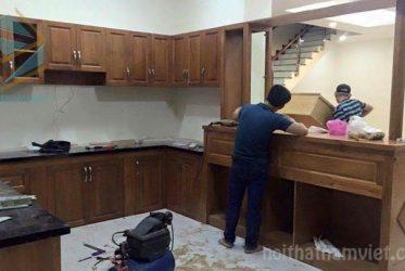 Mẫu tủ bếp gỗ sồi nga đẹp TBGS-001