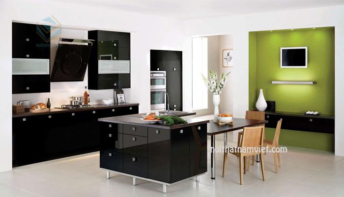 Mẫu tủ bếp gỗ màu đen phủ Acrylic đẹp sang trọng AC-2058