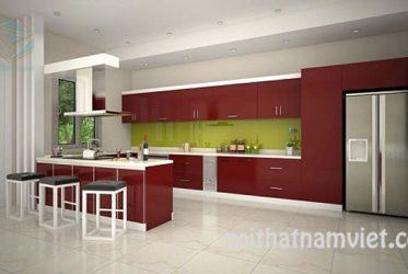 Mẫu tủ bếp gỗ công nghiệp Acrylic màu đỏ nổi bật AC-2133