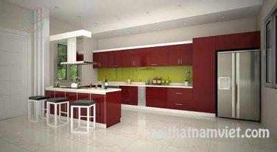 mẫu bếp gỗ Arylic màu đỏ nổi bật