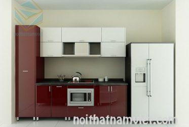 Tủ bếp hình chữ I gỗ Acrylic An Cường hiện đại TBARL-029