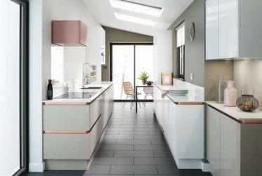 Tủ bếp gỗ Acrylic màu trắng hiện đại TBARL-028