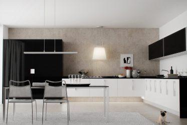 Mẫu tủ bếp gỗ acrylic màu trắng đen hiện đại Châu Âu TBARL-026