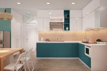 Thiết kế tủ bếp gỗ arilux bóng gương cao cấp An Cường