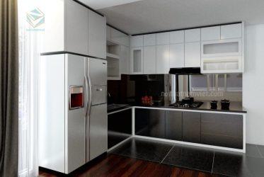 Mẫu tủ bếp thiết kế gỗ MDF cánh Acrylic sang trọng TBARL-037