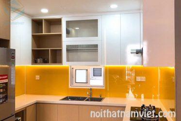 Tủ bếp gỗ thùng MDF cánh Acrylic chữ U màu vân gỗ cho không gian nhỏ TBARL-016