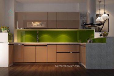 Thiết kế tủ bếp gỗ Laminate phù hợp gian bếp rộng lớn TBLM-012