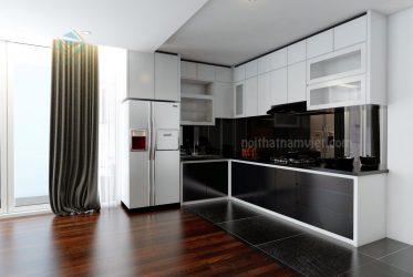 Tủ bếp gỗ Laminate chữ L trắng đen đẹp sang trọng TBLM-010