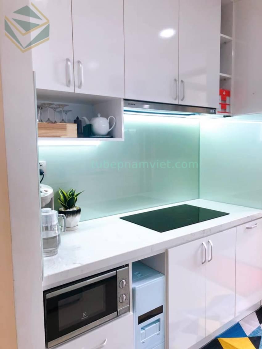 Thiết kế tủ bếp Acrylic chữ I màu trắng đơn giản đẹp giá rẻ tại TPHCM
