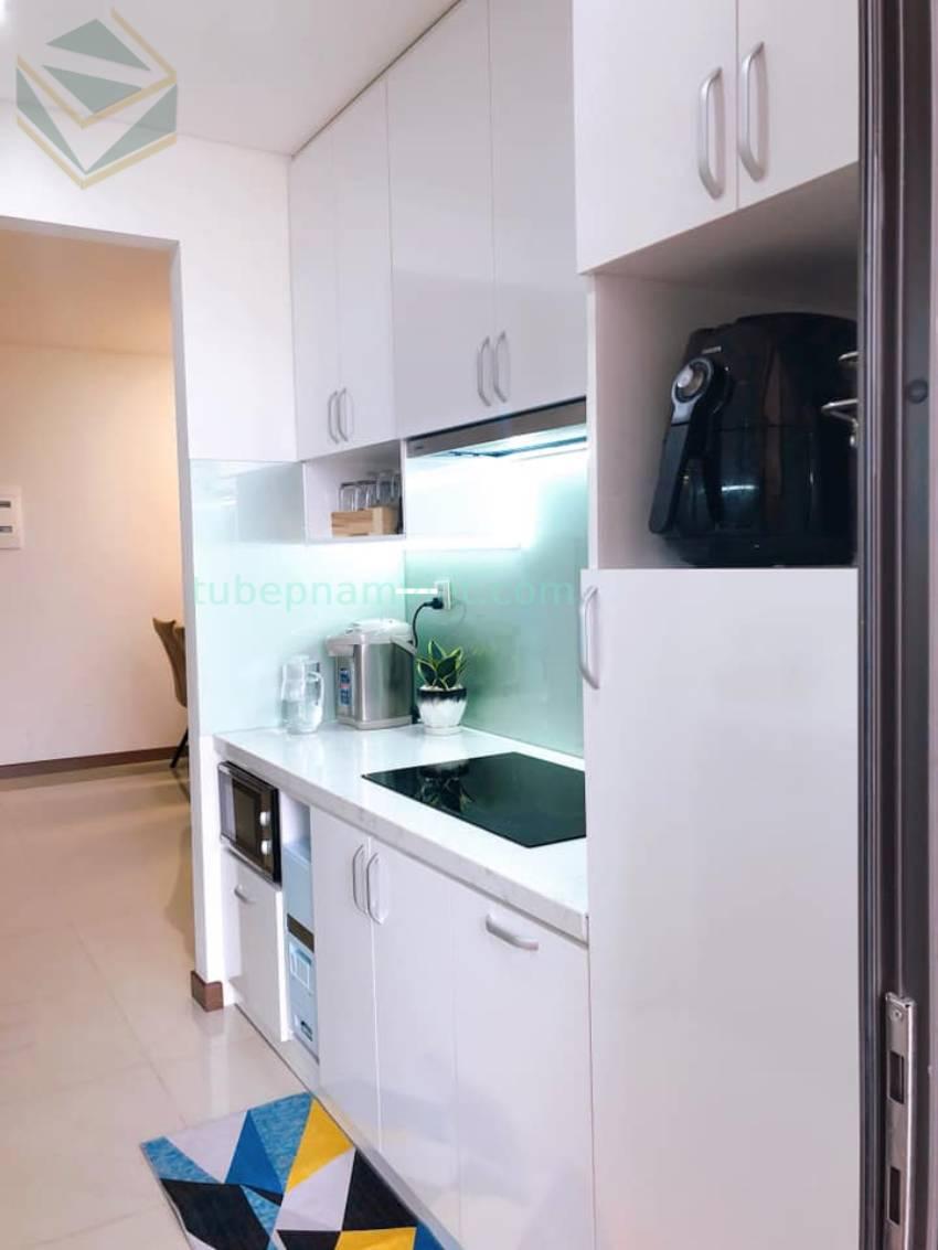 Thiết kế tủ bếp gỗ Acrylic An Cường chữ I màu trắng đơn giản đẹp AC-2085