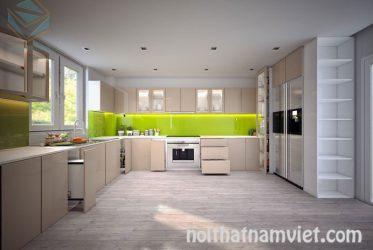 Tủ bếp gỗ Laminate chữ L thiết kế với không gian rộng TBLM-008