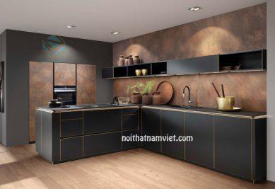 Tủ bếp gỗ Laminat tông xám xanh sang trọng