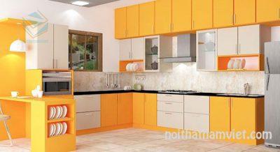 Tủ bếp gỗ Laminate màu vàng