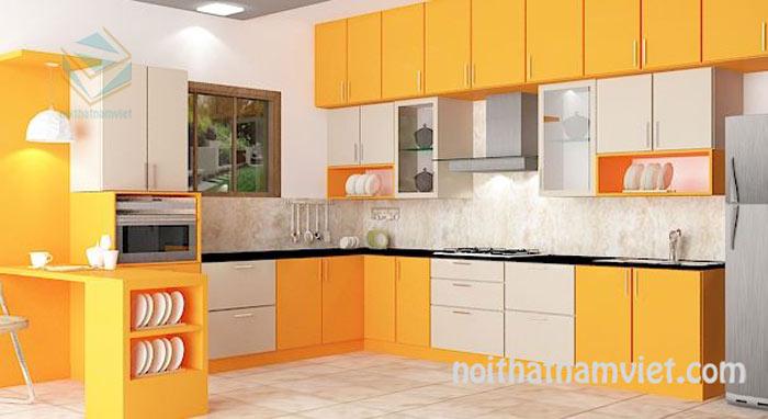 Tủ bếp gỗ Laminate màu vàng lạ mắt