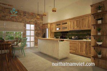 Mẫu tủ bếp gỗ sồi Nga tự nhiên đẹp GS-1001