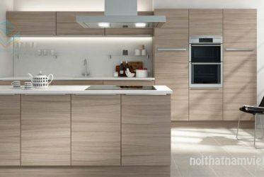 Mẫu tủ bếp laminate vân gỗ kết hợp bàn đảo LM-1009