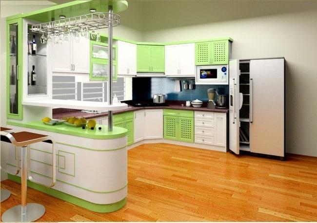Tủ bếp gỗ melamine cánh acrylic tông trắng xanh trẻ trung