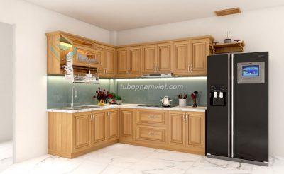 Thi công tủ bếp gỗ sồi Mỹ tự nhiên ở quận 2 TpHCM GS-1024