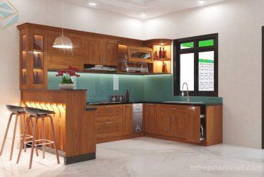 Bảng giá tủ bếp gỗ Gõ Đỏ GD-3002 đẹp sang trọng tại Quận 2, Bình Tân