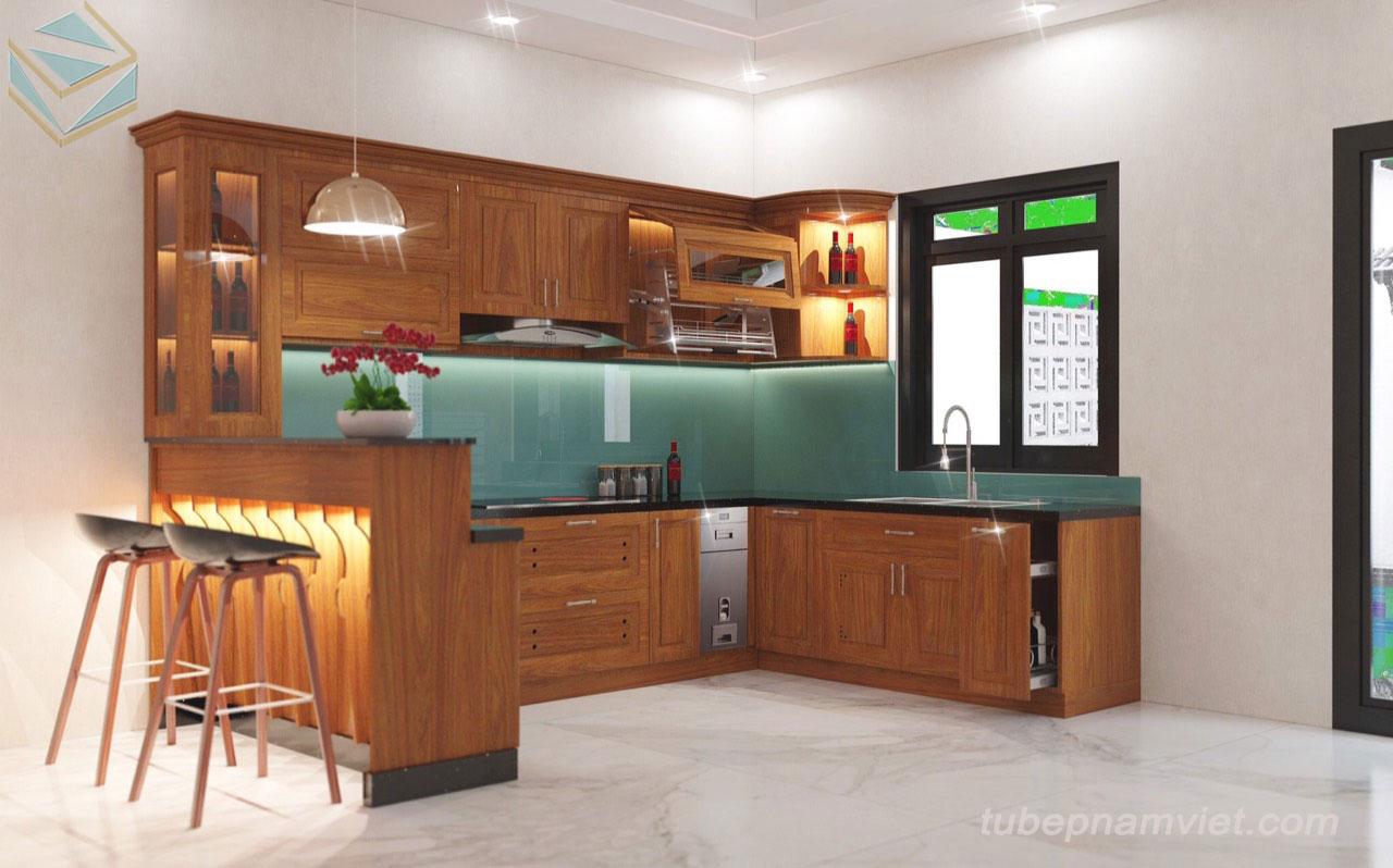 bảng giá tủ bếp gỗ gõ đỏ giá tốt TPHCM GD-3002