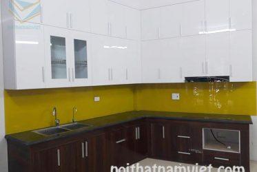 Tủ bếp gỗ Acrylic màu trắng chữ L thiết kế sang trọng AC-2061