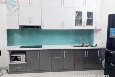 Mẫu tủ bếp Acrylic thiết kế chữ I đơn giản hiện đại AC-2062