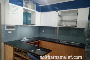 Mẫu tủ bếp gỗ Acrylic chữ U thiết kế không gian nhỏ AC-2065