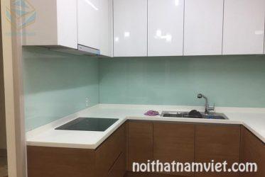 Tủ bếp gỗ Acrylic chữ U cho khuôn bếp nhỏ gọn AC-2072