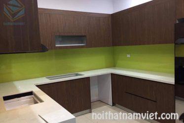 Thi công tủ bếp Acrylic quận Bình Tân – Mẫu AC-2074 thiết kế chữ U sang trọng