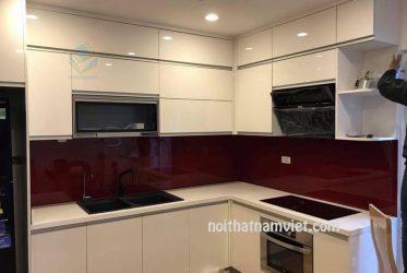 Tủ bếp gỗ Acrylic chữ L đẹp cho nhà nhỏ gọn AC-2088