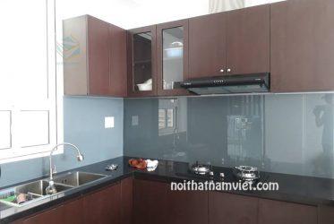 Mẫu tủ bếp gỗ Acrylic chữ L đẹp thu hút ánh nhìn AC-2089