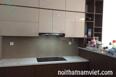 Mẫu tủ bếp gỗ Acrylic màu vân gỗ đẹp sang trọng AC-2092