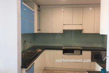 Tủ bếp gỗ Acrylic dành cho căn hộ chung cư đơn giản hiện đại AC-2093