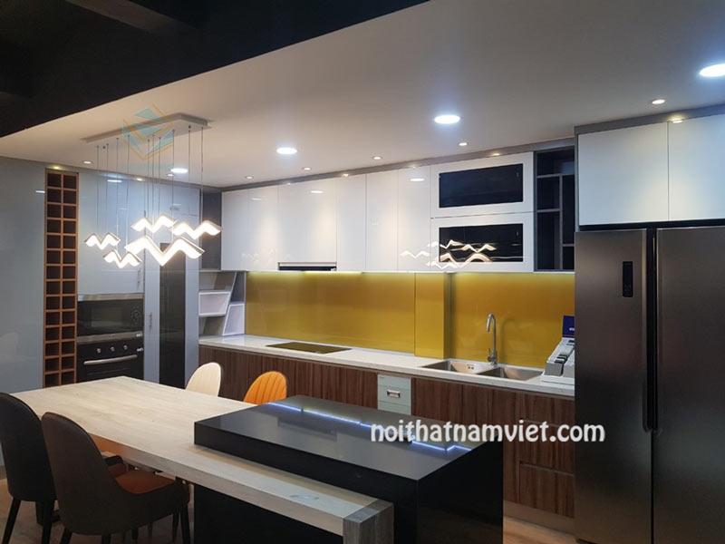 Tủ bếp gỗ Acrylic có bàn đảo kết hợp bàn ăn tiện nghi AC-2098
